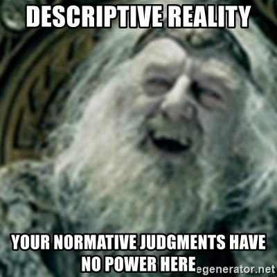 you have no power here - Descriptive reality Your normative judgments have no power here