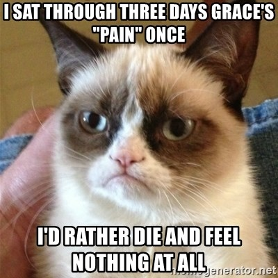 """Grumpy Cat  - I sat through three days grace's """"pain"""" once i'd rather die and feel nothing at all"""