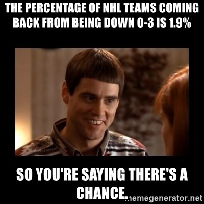 Lloyd-So you're saying there's a chance! - The percentage of NHL Teams coming back from being down 0-3 is 1.9% so you're saying there's a chance.