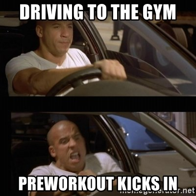 Vin Diesel Car - driving to the gym preworkout kicks in