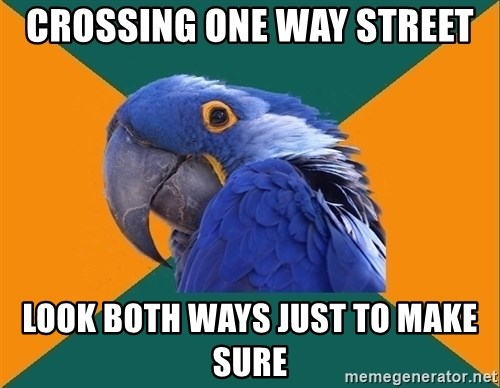 Paranoid Parrot - Crossing one way street Look both ways just to make sure