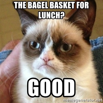 Grumpy Cat  - The bagel basket for lunch? good