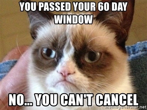Angry Cat Meme - you passed your 60 day window no... you can't cancel