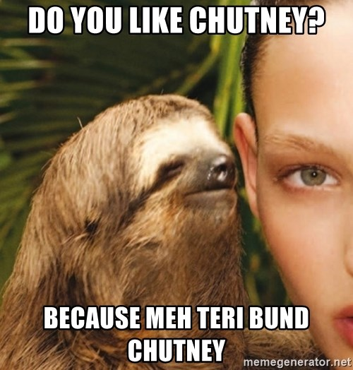 The Rape Sloth - Do you like chutney? because meh teri bund  chutney