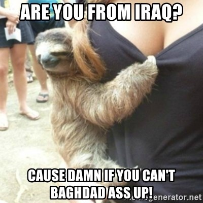 Perverted Sloth - Are you from iraq? Cause damn if you can't baghdad ass up!