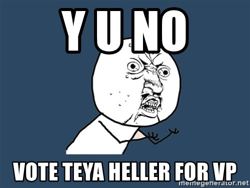 Y U No - Y U NO VOTE TEYA HELLER FOR VP