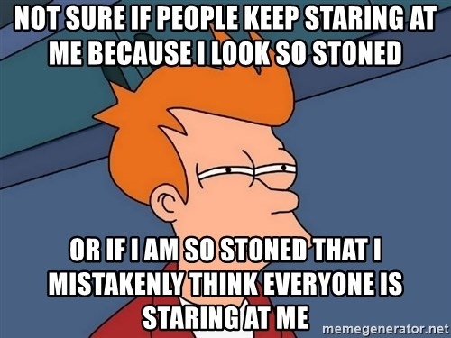 Futurama Fry - not sure if people keep staring at me because i look so stoned or if i am so stoned that i mistakenly think everyone is staring at me