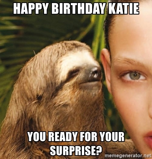 The Rape Sloth - Happy Birthday Katie you ready for your surprise?