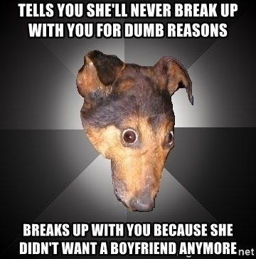 Depression Dog - Tells you she'll never break up with you for dumb reasons Breaks up with you because she didn't want a boyfriend anymore