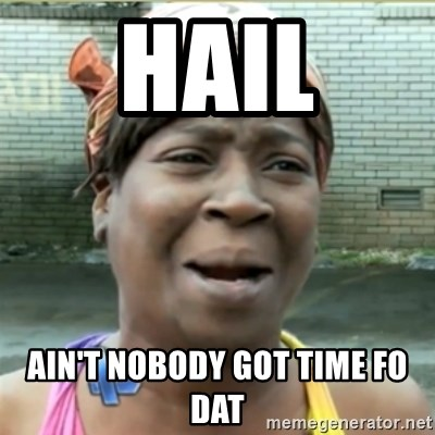 Ain't Nobody got time fo that - Hail Ain't nobody got time fo dat