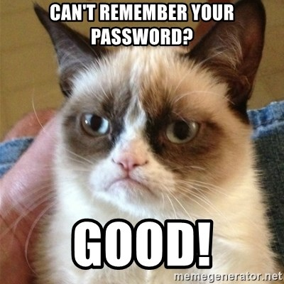 Grumpy Cat  - CAN'T REMEMBER YOUR PASSWORD? GOOD!