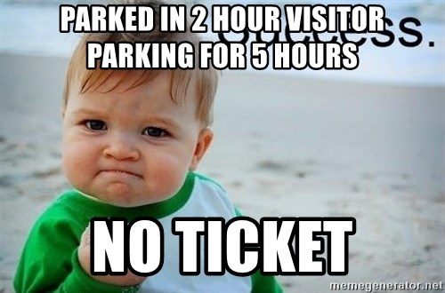 success baby - Parked in 2 hour visitor parking for 5 hours No ticket