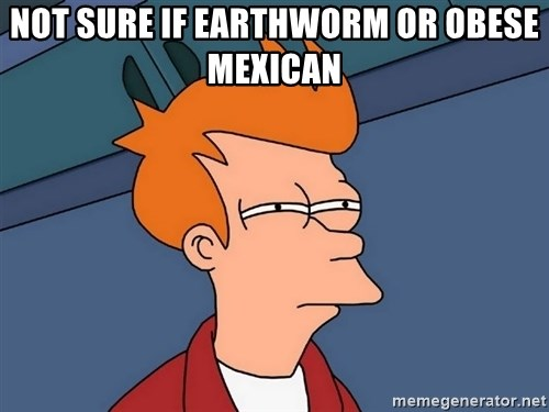 Futurama Fry - not sure if earthworm or obese mexican
