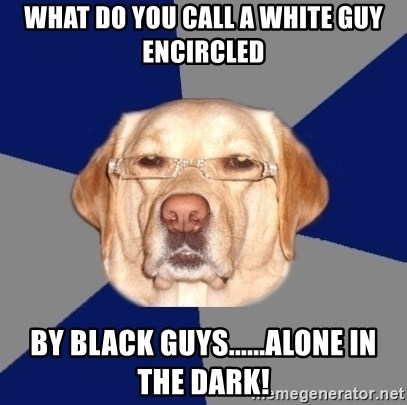 Racist Dog - WHAT DO YOU CALL A WHITE GUY ENCIRCLED BY BLACK GUYS......ALONE IN THE DARK!