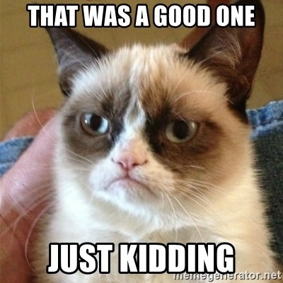 Grumpy Cat  - That was a good one just kidding