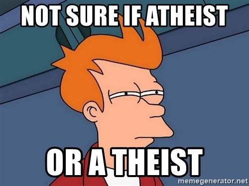 Futurama Fry - not sure if atheist  or a theist
