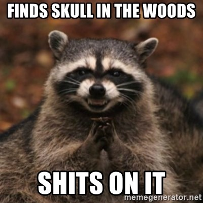 evil raccoon - finds skull in the woods shits on it