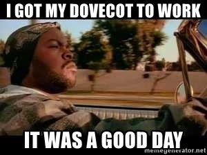 It was a good day - I got my dovecot to work it was a good day