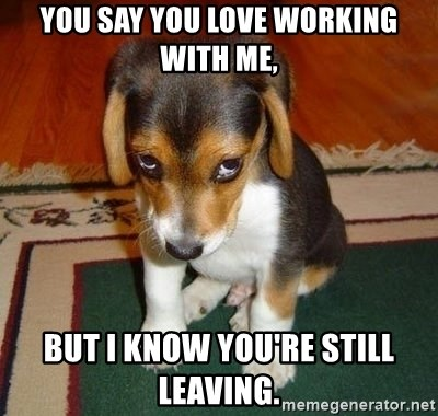 Sad Puppy - You say you love working with me, But I know you're still leaving.