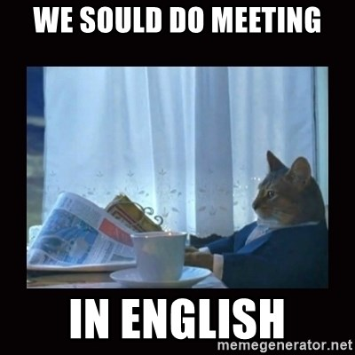 i should buy a boat cat - we sould do meeting in english