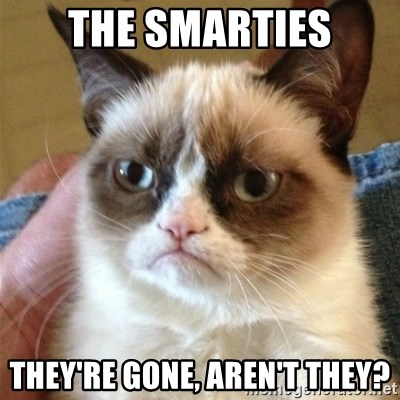 Grumpy Cat  - THE SMARTIES THEY'RE GONE, AREN'T THEY?