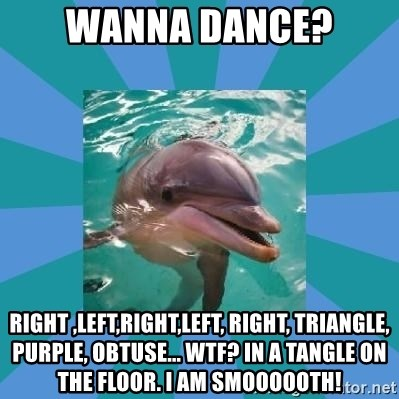 Dyscalculic Dolphin - wanna dance? Right ,left,right,left, right, triangle, purple, obtuse... wtf? in a tangle on the floor. I am smoooooth!