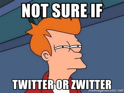Futurama Fry - not sure if  twitter or zwitter