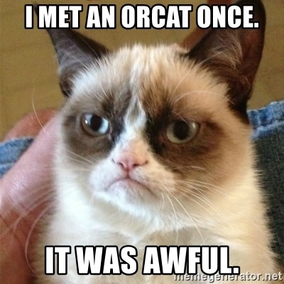 Grumpy Cat  - I MET AN ORCAT ONCE. IT WAS AWFUL.