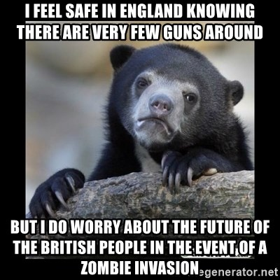 sad bear - I feel safe in england knowing there are very few guns around but i do worry about the future of the british people in the event of a zombie invasion