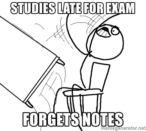 Desk Flip Rage Guy - Studies late for exam Forgets notes