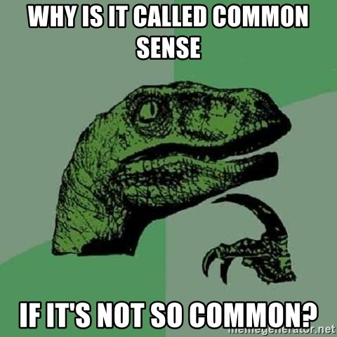 Philosoraptor - Why is it called common sense if it's not so common?