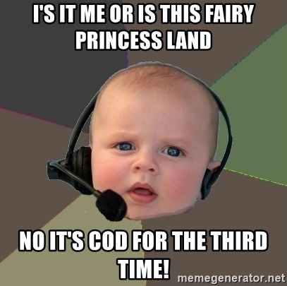 FPS N00b - I'S IT ME OR IS THIS FAIRY PRINCESS LAND NO IT'S COD FOR THE THIRD TIME!