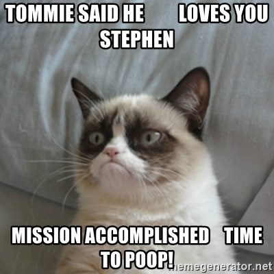 Grumpy Cat ={ - Tommie Said He         Loves You Stephen Mission Accomplished    Time To Poop!