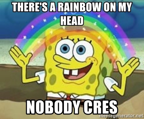 Spongebob - There's a rainbow on my head nobody cres