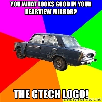 AdviceCar - you what looks good in your rearview mirror? the gtech logo!