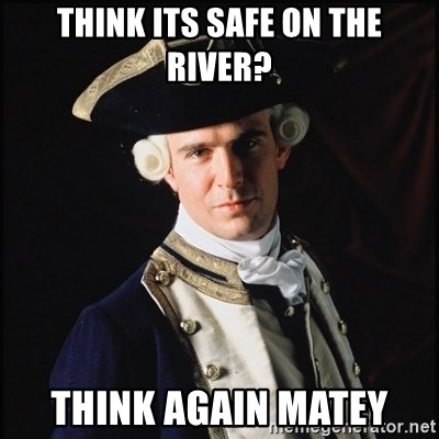 Hollywood Pirate Hunter - think its safe on the river? think again matey