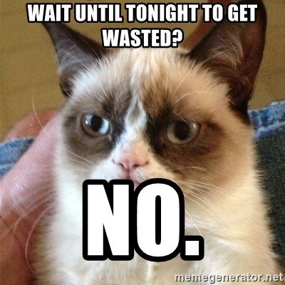 Grumpy Cat  - wait until tonight to get wasted? no.