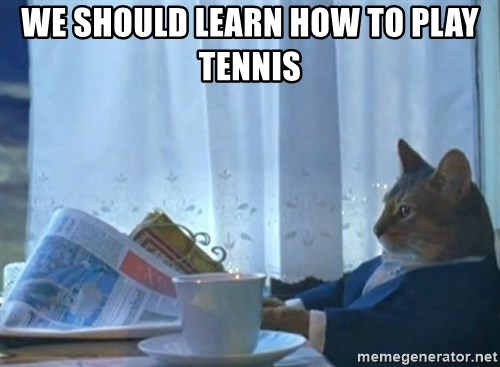 Sophisticated Cat - We should learn how to play tennis