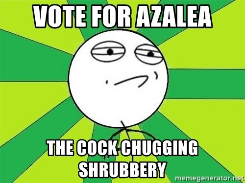 Challenge Accepted 2 - vote for azalea the cock chugging shrubbery