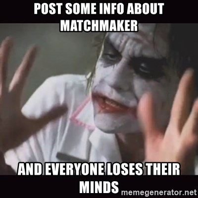 Loses Their Minds - Post some info about matchmaker and everyone loses their minds