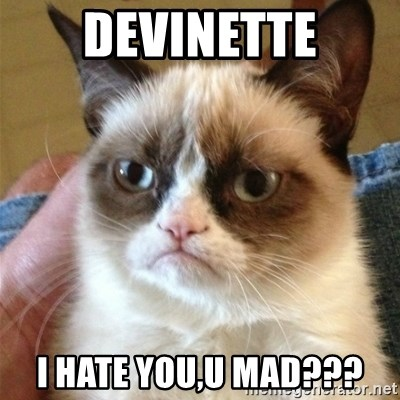 Grumpy Cat  - DEVINETTE I HATE YOU,U MAD???