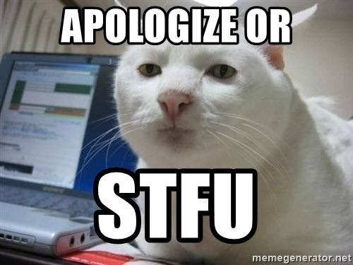 Serious Cat - apologize or stfu