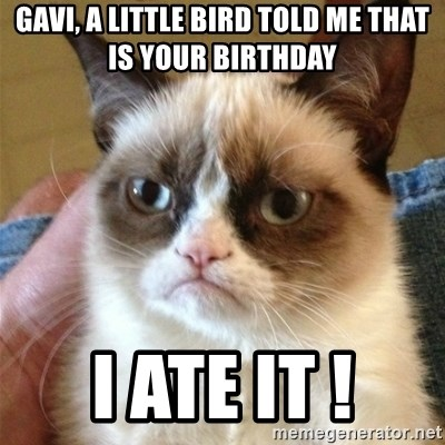 Grumpy Cat  - gavi, a little bird told me that is your birthday I ate it !