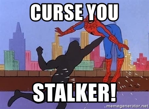 crotch punch spiderman - curse you stalker!