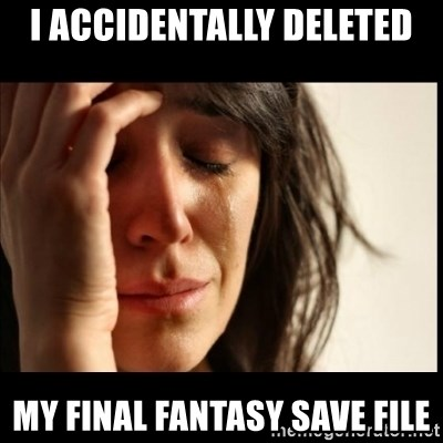 First World Problems - I accidentally deleted My fInal fantasy save file