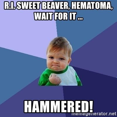 Success Kid - R.I. sweet beaver, hematoma, wait for it ... hammered!
