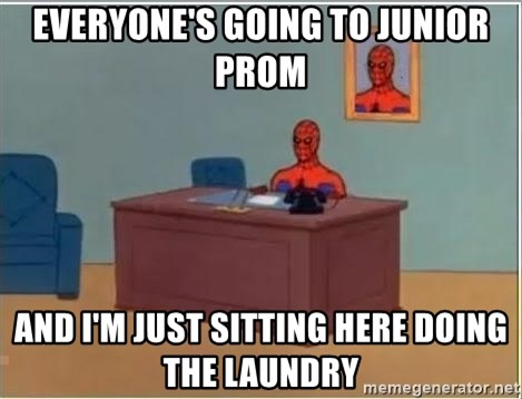 Spiderman Desk - Everyone's going to junior prom and i'm just sitting here doing the laundry