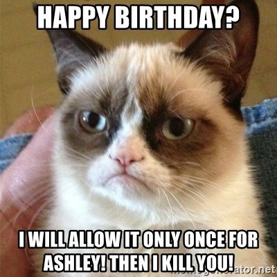 Grumpy Cat  - Happy Birthday? I will allow it only once for ashley! then i kill you!