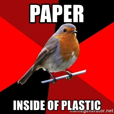 Retail Robin - Paper Inside of plastic