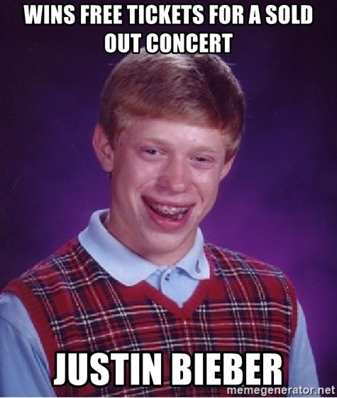 Bad Luck Brian - wins free tickets for a sold out concert justin bieber